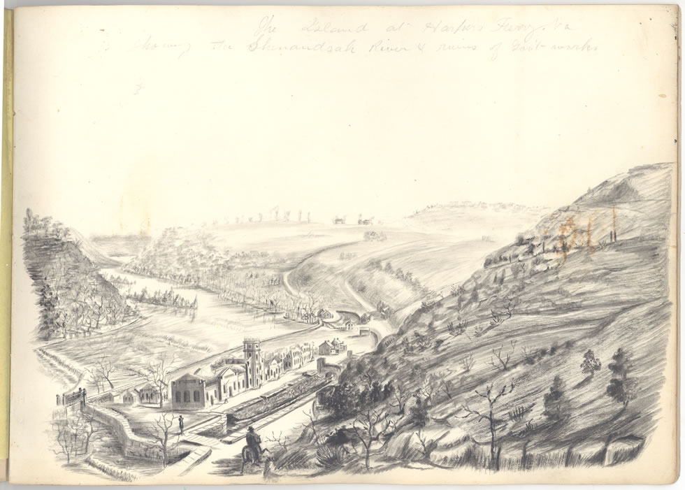 CivilWarSketchBk TheIslandatHarpersFerryVA