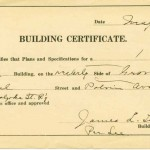 Building certificate for HSR headquarters on Canal & Bridge st. 1907