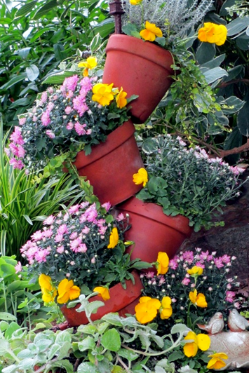tipped pot planter