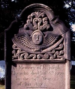 Headstone for Joseph Ely (d. 1770), sandstone, at the Elmwood Cemetery