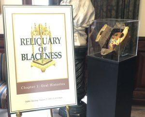 Reliquary of Blackness Exhibit Title Panel