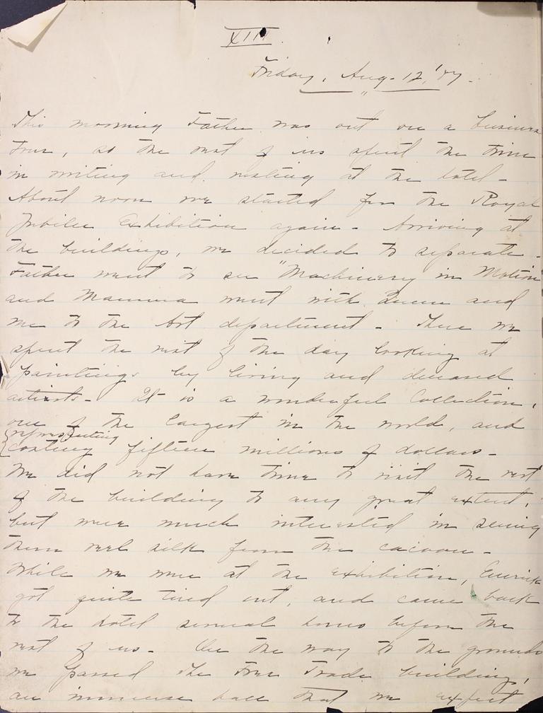 Belle Skinner 1887 Journal 08-12-1887a XII
