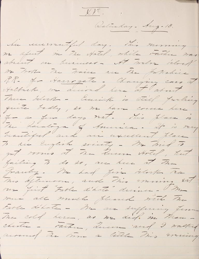 Belle Skinner 1887 Journal 08-13-1887 XV