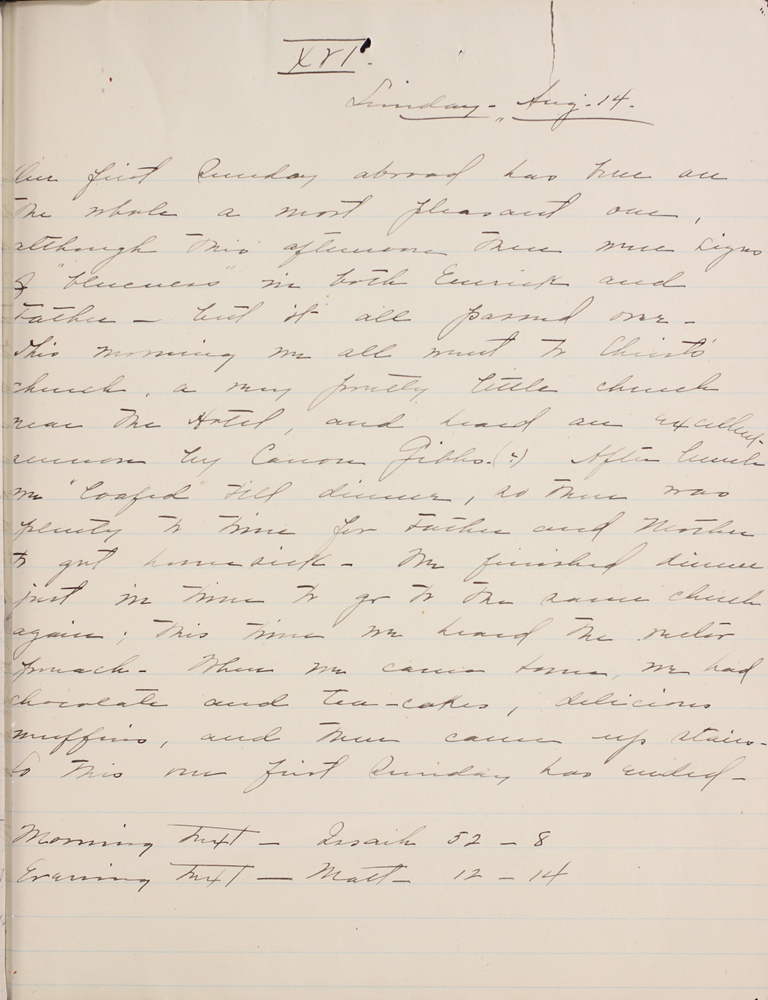Belle Skinner 1887 Journal 08-14-1887 XVI