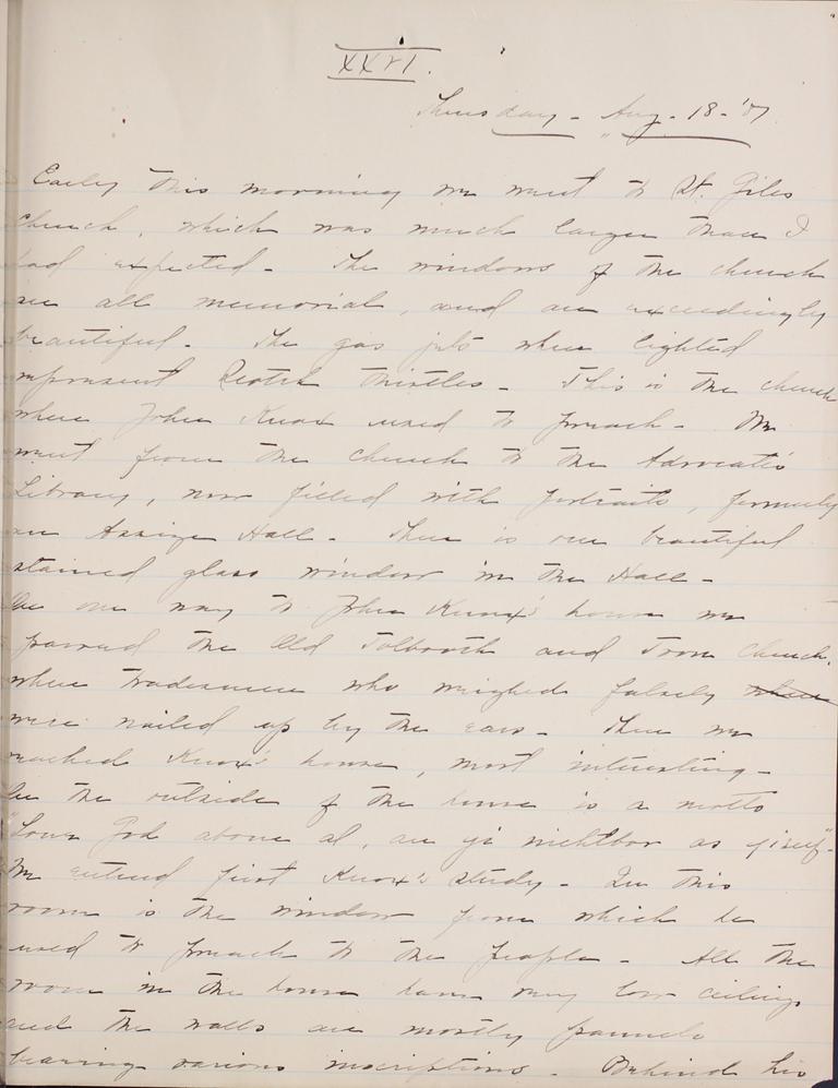 Belle Skinner 1887 Journal 08-18-1887 XXVI