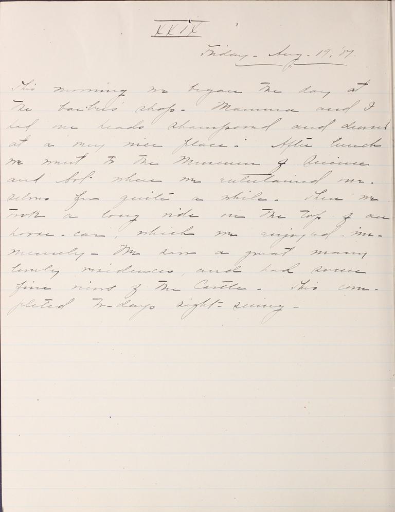 Belle Skinner 1887 Journal 08-19-1887 XXIX