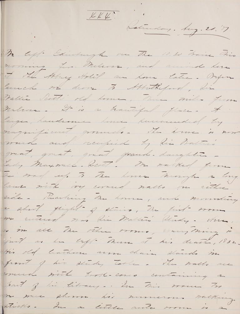 Belle Skinner 1887 Journal 08-20-1887 XXX