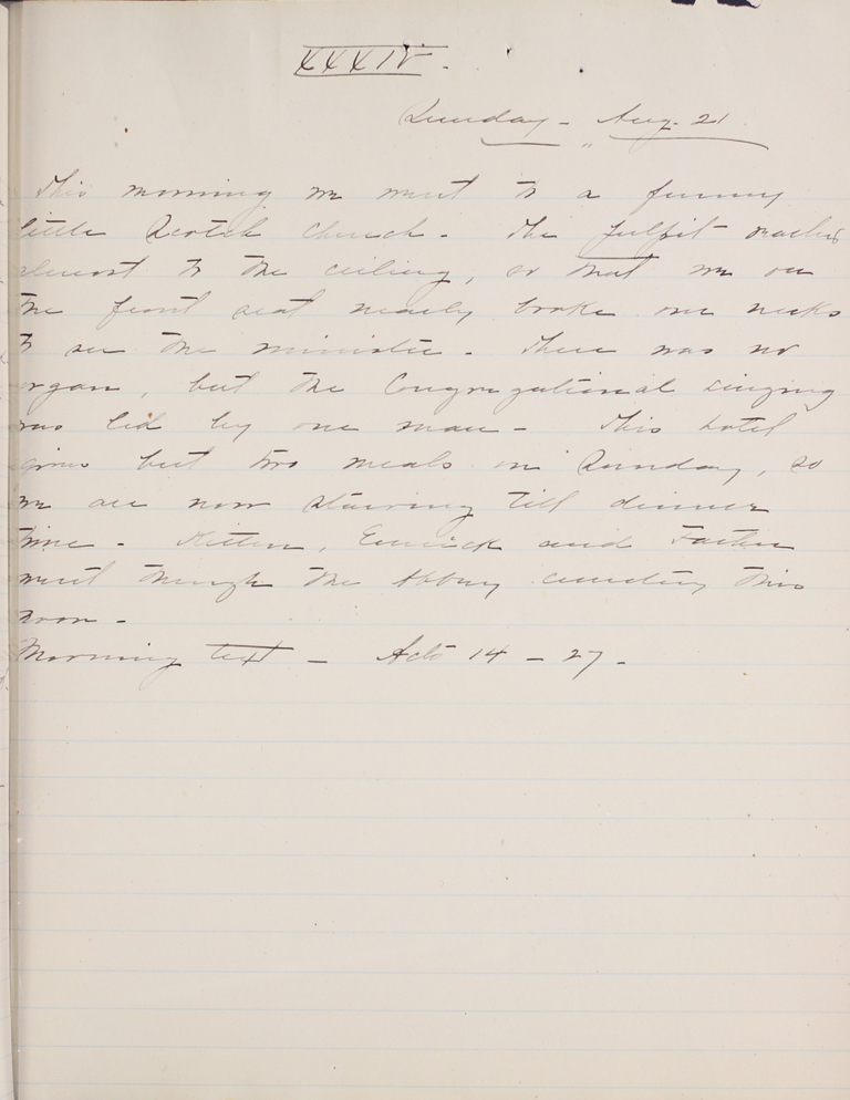 Belle Skinner 1887 Journal 08-21-1887 XXXIV