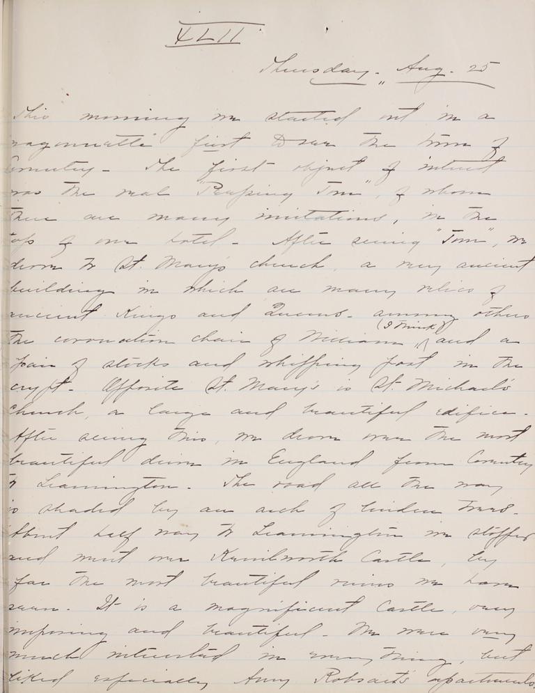 Belle Skinner 1887 Journal 08-25-1887 XLII