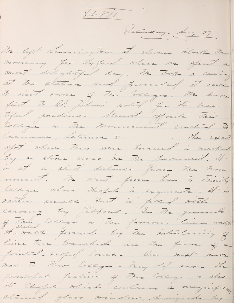 Belle Skinner 1887 Journal 08-27-1887 XLVII