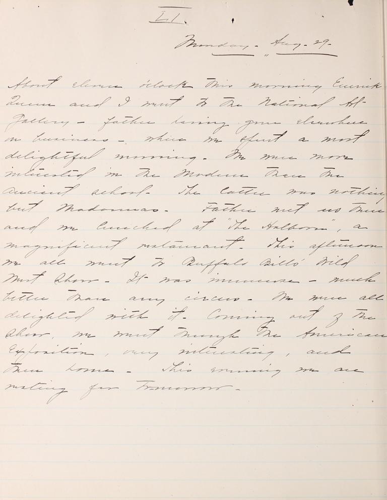 Belle Skinner 1887 Journal 08-29-1887 LI