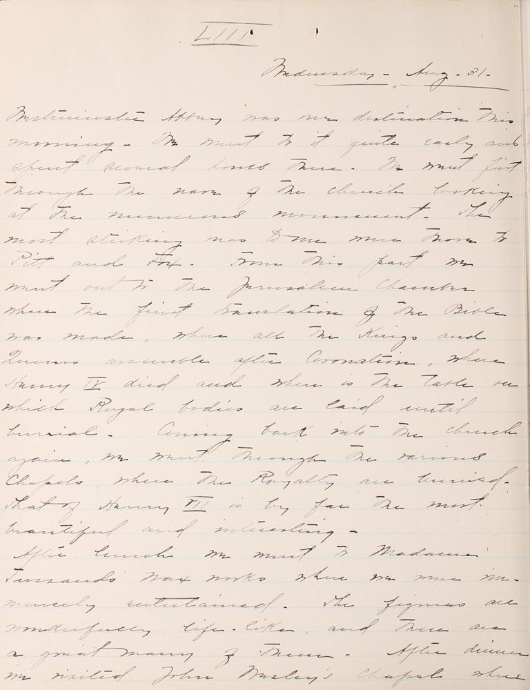 Belle Skinner 1887 Journal 08-31-1887 LIII