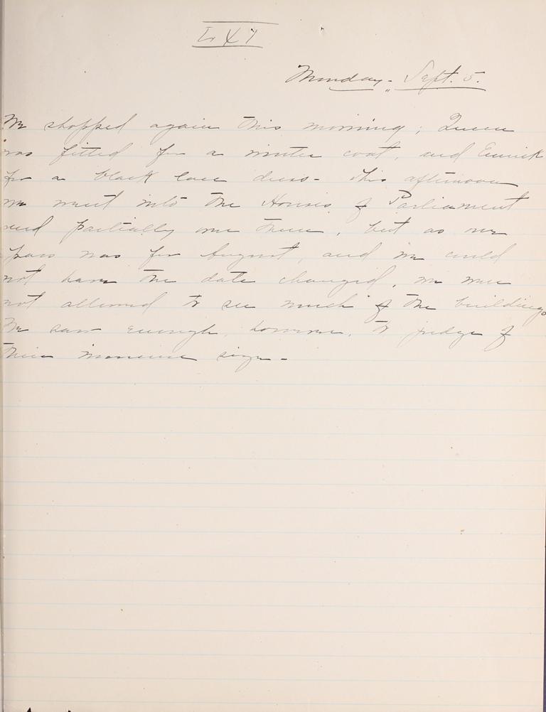 Belle Skinner 1887 Journal 09-05-1887 LXI