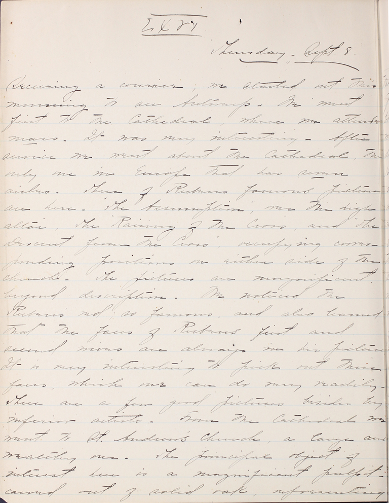 Belle Skinner 1887 Journal 09-08-1887a LXVI