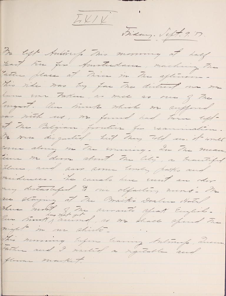 Belle Skinner 1887 Journal 09-09-1887 LXIX