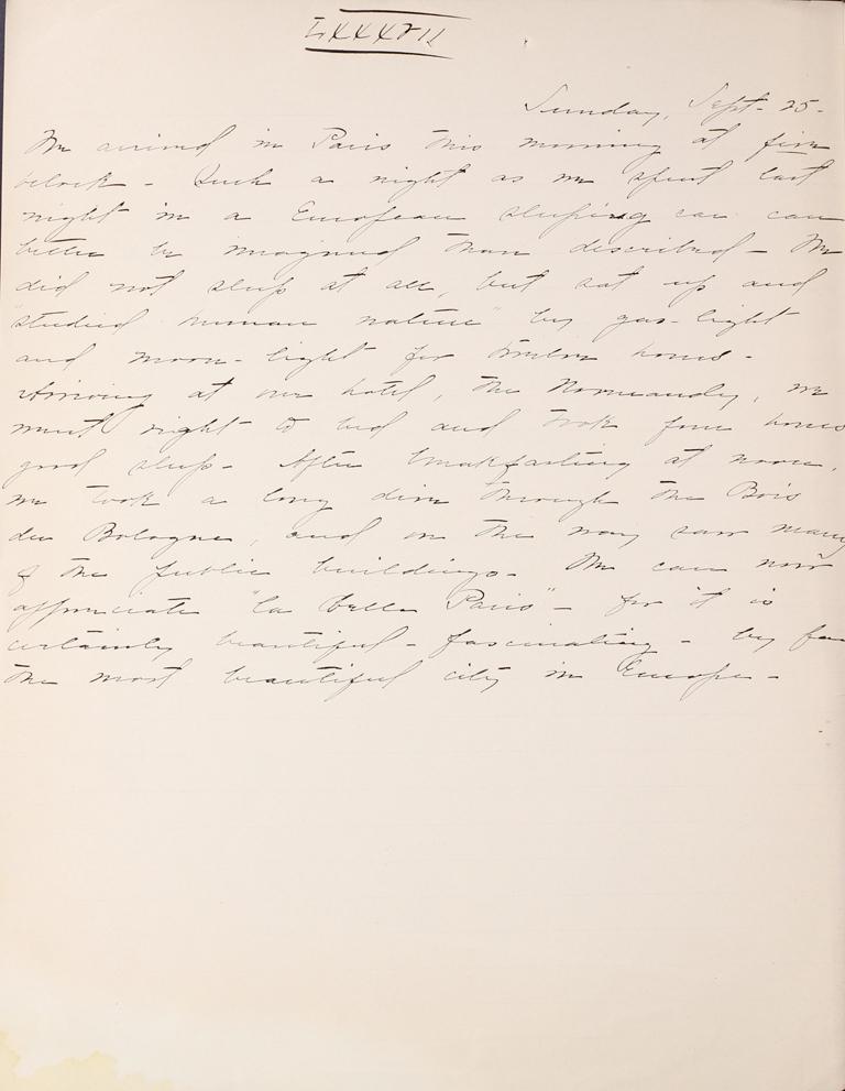 Belle Skinner 1887 Journal 09-25-1887 LXXXVII