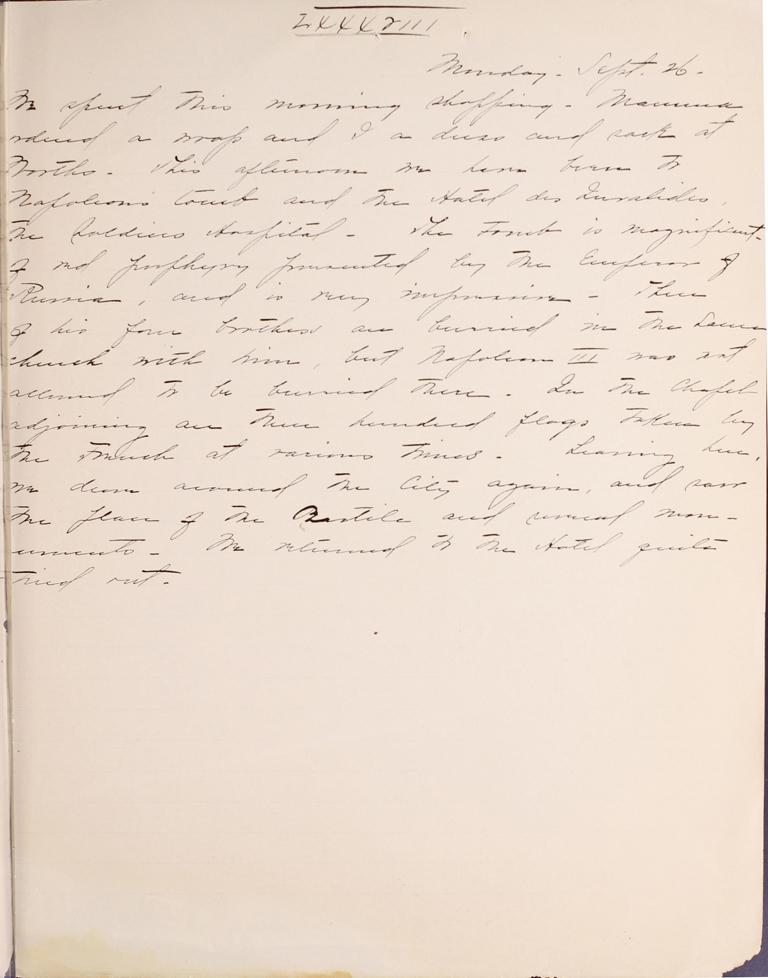 Belle Skinner 1887 Journal 09-26-1887LXXXVIII