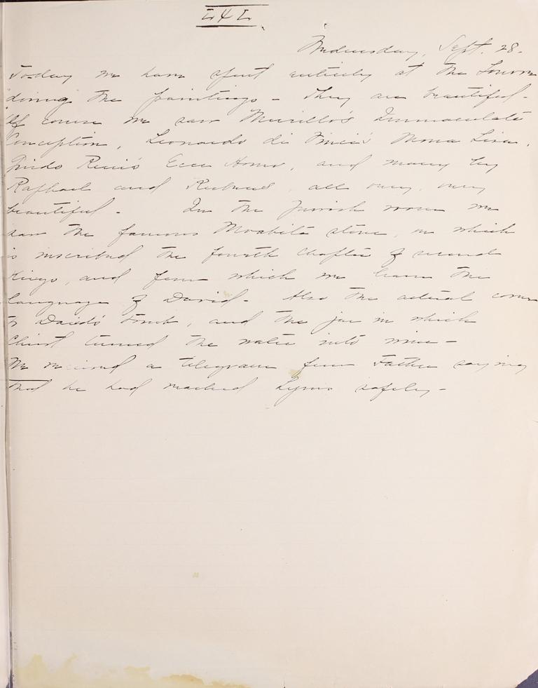 Belle Skinner 1887 Journal 09-28-1887 LXL