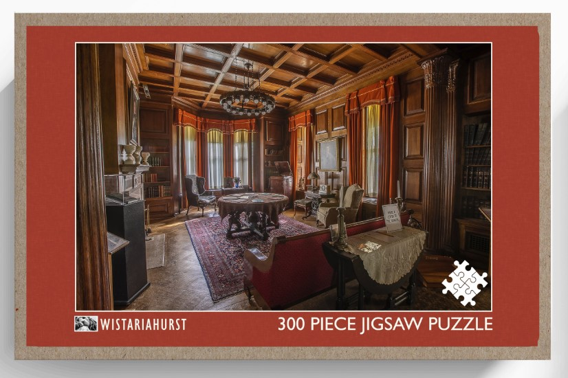 The Box Cover Of A Puzzle Showing A Fancy Mansion Library