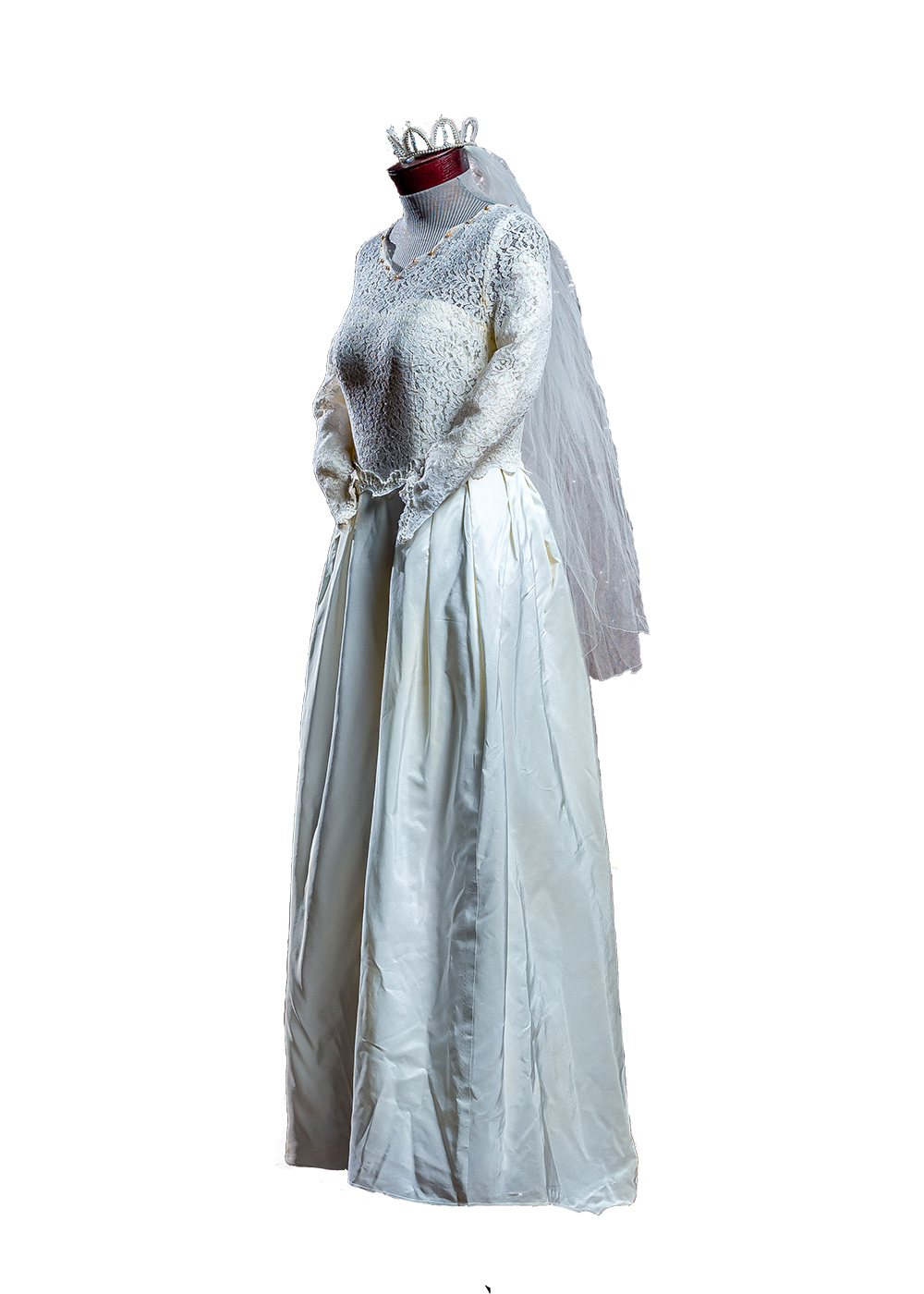 Ivory Skinner satin gown with lattice-beaded shoulders, princess seams, and covered buttons and sleeves and back.