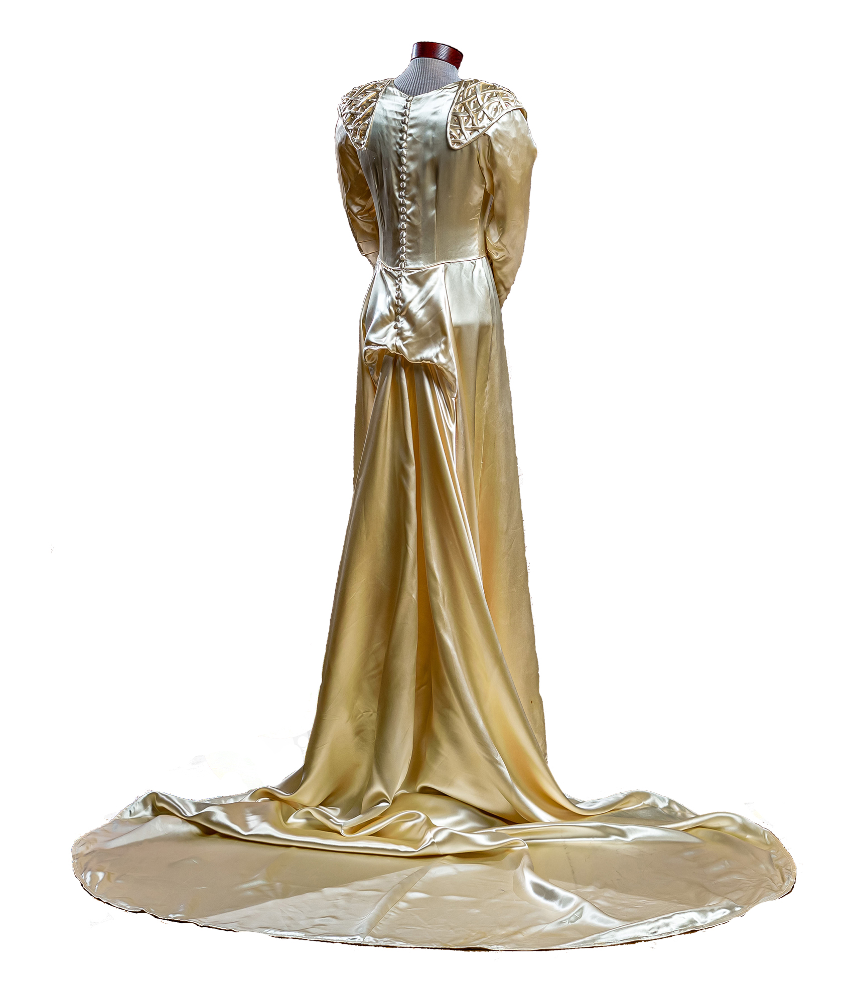 Candlelight ivory Skinner satin gown with tasseled embroidery, princess waist, long sleeves, train, and back zipper.